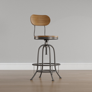Weathered Brown Rustic Industrial Adjustable Bar Stool