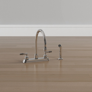 Saratoga 2-Handle Standard Kitchen Faucet with Side Sprayer in Polished Chrome